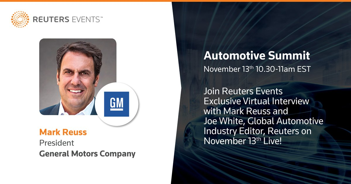 Tomorrow at 10:30AM EST, President Mark Reuss will join @JBWEyesonroad at @Reuters Events Automotive Summit to discuss how we plan to put everyone in an EV. Register to watch live: s.gm.com/ysgy4