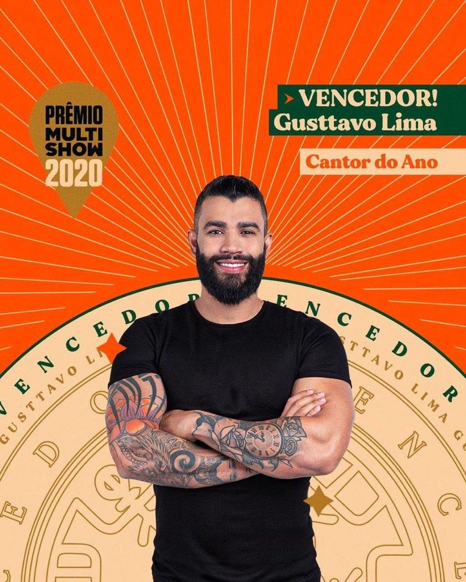 Gusttavo Lima é o vencedor do Prêmio MultiShow como Cantor do Ano!!!  #PrêmioMultiShow #GusttavoLima #CantorDoAno
