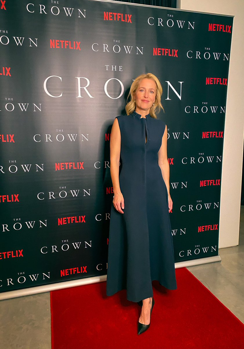 Excited to celebrate @TheCrownNetflix S4 premiere from....my kitchen! 👑 Thank you to @Dior for allowing me to wear this beautiful dress and jewelry and a huge applause to the fab @marthaward2 for my styling all week! 🤍👏🏻