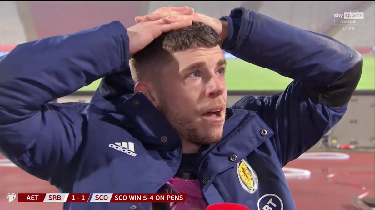 """🗣 """"We deserve it, we've been through so many years""""   Ryan Christie gives an emotional post-match interview after Scotland's qualification trying to hold back the tears 🏴 ❤️ https://t.co/MbkBHTmo0R"""