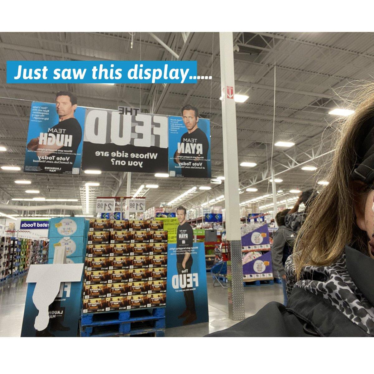I can't make this up....sorry @RealHughJackman looks like shoppers at this #KansasCity @SamsClub #voted @VancityReynolds @sickkids @laughingmanco @AviationGin #LaughingManFoundation