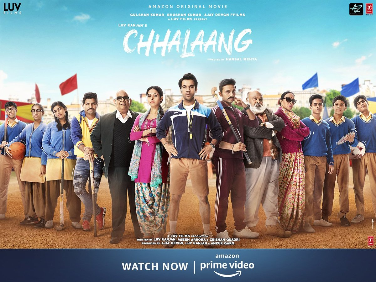 Game On! Time to take a Chhalaang!   #ChhalaangOnPrime, streaming now on @PrimeVideoIN.       @RajkummarRao @Nushrratt @Mdzeeshanayyub @satishkaushik2 #SaurabhShukla #IlaArun @jatinsarna @mehtahansal @ajaydevgn @luv_ranjan @gargankur #BhushanKumar