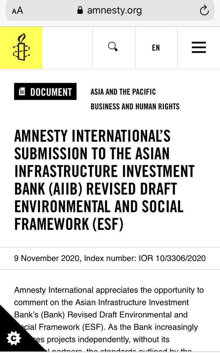 AMNESTY INTERNATIONAL'S SUBMISSION TO THE ASIAN INFRASTRUCTURE INVESTMENT BANK (#AIIB, @AIIB_Official) REVISED DRAFT ENVIRONMENTAL AND SOCIAL FRAMEWORK (#ESF) amnesty.org/en/documents/i… #bizhumanrights #ICYMI @amnesty