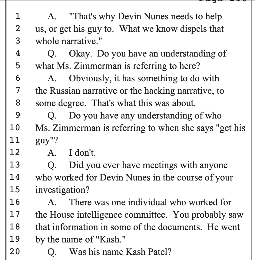 Specifically, Devin Nunes' assistant Kash Patel was involved, who now runs policy at the DoD. 2/