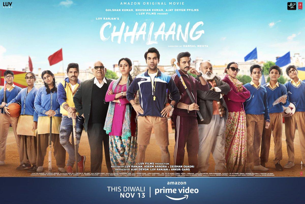 Game On! Time to take a Chhalaang!   #ChhalaangOnPrime, streaming now on @PrimeVideoIN.       @RajkummarRao @Nushrratt @Mdzeeshanayyub @satishkaushik2 #SaurabhShukla #IlaArun @jatinsarna @mehtahansal