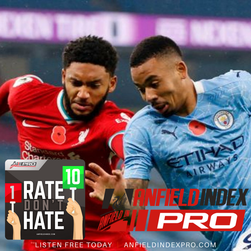 #RateDontHate: #MCILIV  @The_KYLN @guydrinkel & @TadPredictable rate the players in the 1-1 draw  🎧 Listen for FREE via @AnfieldIndexPro 7 Day Trial