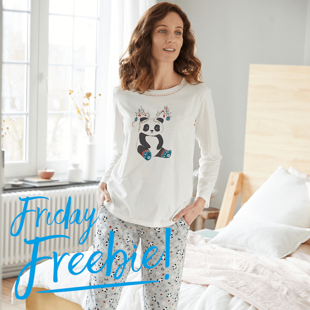 Its Friday Freebie time! #fridayfreebie The Christmas Panda! Retweet or comment for you chance to win these cosy and cute pjs! Cant wait to win? Shop now: bit.ly/3macKT9 Ends 20/11 12pm. T&Cs: bit.ly/2d3zwey