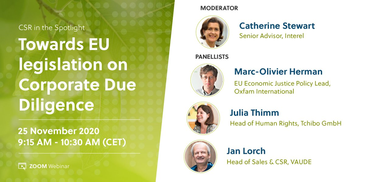 Interel EU is thrilled to invite you to our upcoming event on corporate #duediligence moderated by @CatherineStewart. Join us on 25 Nov @ 9:15 for an insightful conversation with our expert panelists from VAUDE, Tchibo & Oxfam.  Registration is now open: https://t.co/txScy5JVWv https://t.co/6KN4l3qMep