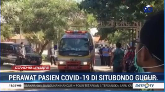 #COVID19UpdateMetroTV Seorang perawat pasien COVID-19 di Jawa Timur gugur saat menjalani isolasi di RS karena positif COVID-19. Perawat tersebut diduga terpapar COVID-19 saat bertugas langsung di ruangan perawatan pasien. Streaming:  #MetroTV20