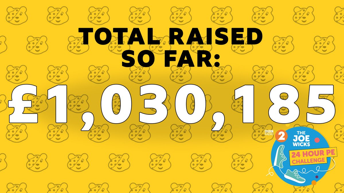 Thank you to our beautiful listeners - you have helped our superhero @thebodycoach raise over a million for #ChildrenInNeed!  There's 45 minutes to go Joe - you've got this ❤️