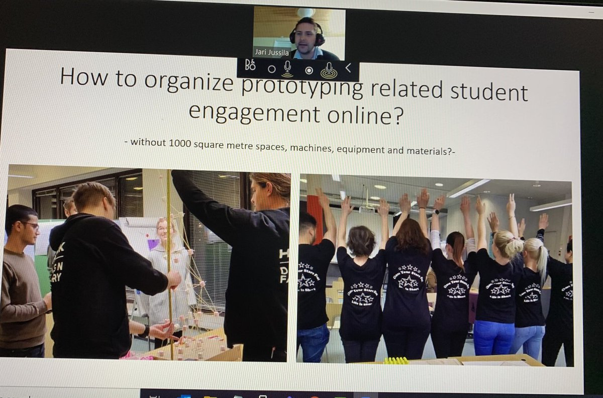 The series of exciting #run_eu webinars started today. Design based education (DBE) and design thinking were also featured. Our presentation was about student prototypes featuring @jmtorkkel - What a great forum for exchanging ideas, research and experiences #EuropeanUniversities
