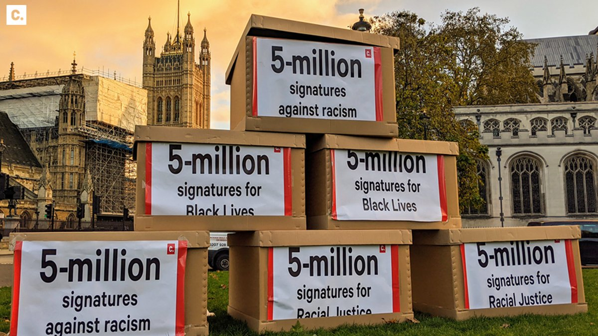 It's official: more people have signed petitions for an end to racism than ever before in British history! We took the 5 million signatures to Westminster - @10DowningStreet, are you listening?   #Project5Million