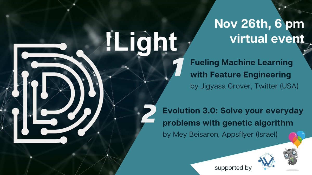 ★ Take two of D!Light ★ After the kick-off in July, our #digital event series D!Light goes into the next round on November 26th (6 pm CET). This time, we have two great speakers on #MachineLearning from @Twitter & @AppsFlyer!   Join for free 👉