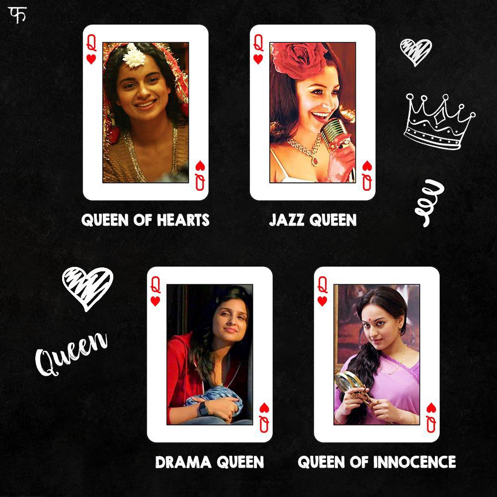 Who is your sapno ki Rani? 💕 #Queen #BombayVelvet #Lootera #HaseeTohPhasee  @KanganaTeam @AnushkaSharma #SonakshiSinha @ParineetiChopra