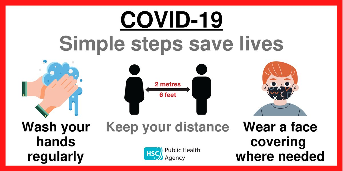 Taking three simple steps can help save lives:  1. Wash your hands regularly. 2. Keep social distancing (2 metres where possible). 3. Wear a face covering.  Help stop the spread of COVID-19.   For more information visit   @healthdpt