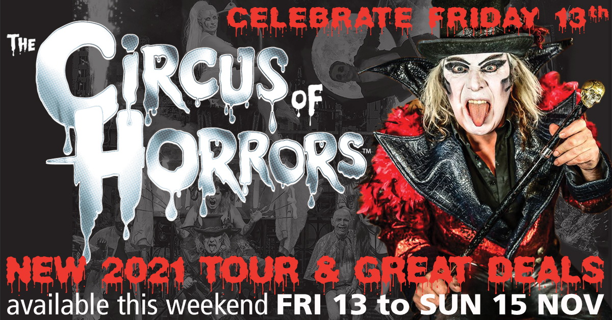 It's Friday the 13th, so why not treat yourself to discounted tickets for @circusofhorrors? Celebrating 25 years on the road with a brand new show, this offer is available for selected venues across the UK. Find out more >> https://t.co/laOiu6LGh5 https://t.co/w5jpiabP2V
