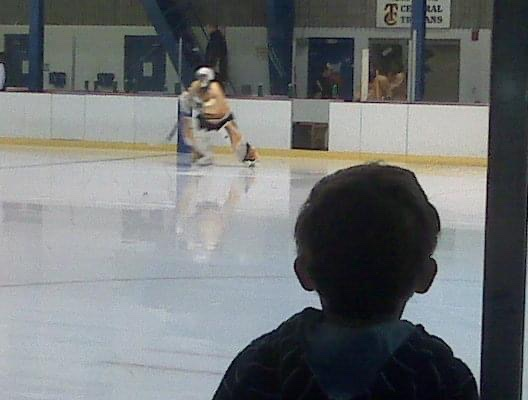 This young man has been coming to Trojan hockey games for a long time. He made the team for the first time this year. #hockey #dreamsstarthere