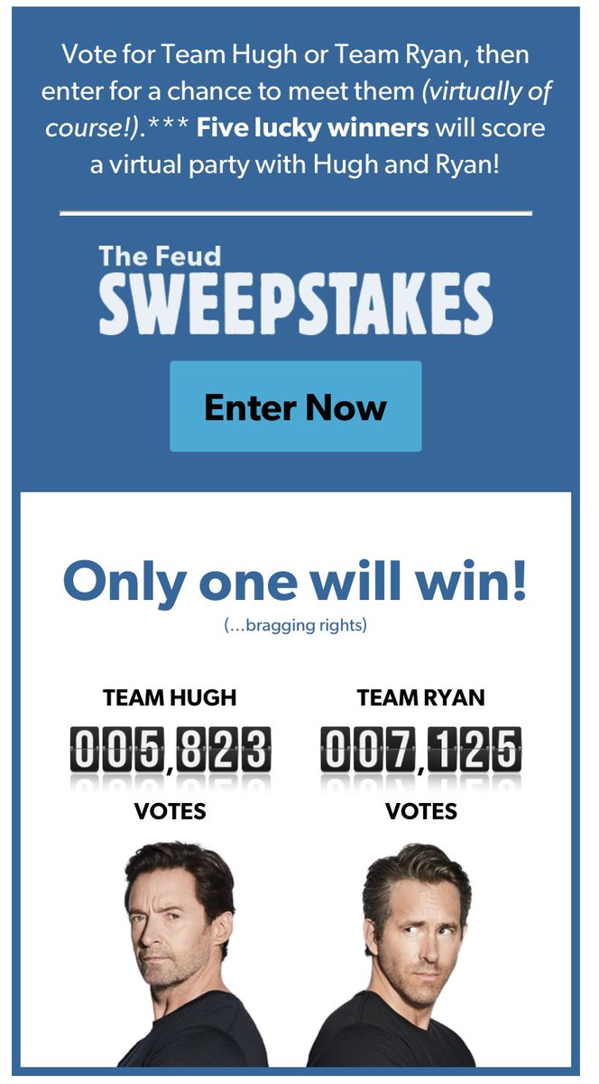 Come on fellow @RealHughJackman and @LaughingMan lovers. We cannot allow @VancityReynolds bragging rights 😆 Vote here, all you need to do is add your d.o.b and a US state to vote every day.  #HughJackman #LaughingManFoundation @laughingmanco