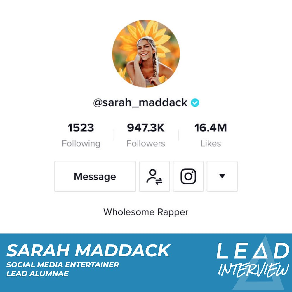 Did @SarahMaddack do an interview for LEΔD, sharing her experience in the program and how she's applied the principles to become a popular social media personality? This would be a weird thing to tweet out if she didn't.