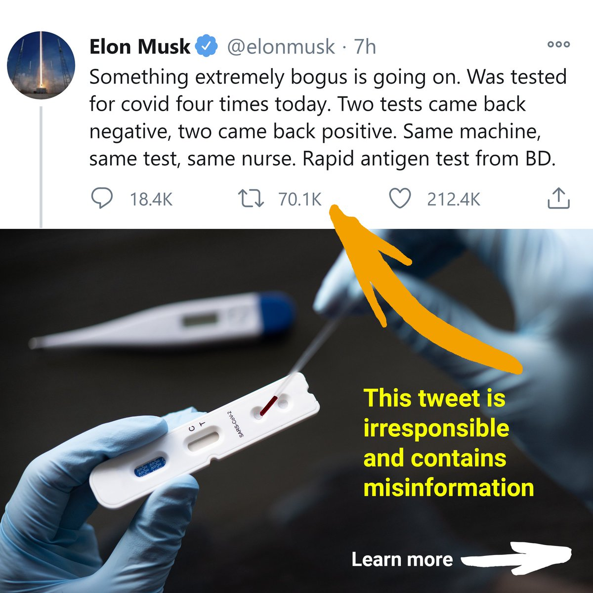 Hashem Al Ghaili On Twitter It S So Disappointing To See How Elonmusk Has Become An Amplifier For Covid 19 Misinformation Comparing Pcr Tests With Rapid Testing Kits Is Like Comparing Apples With Oranges Both