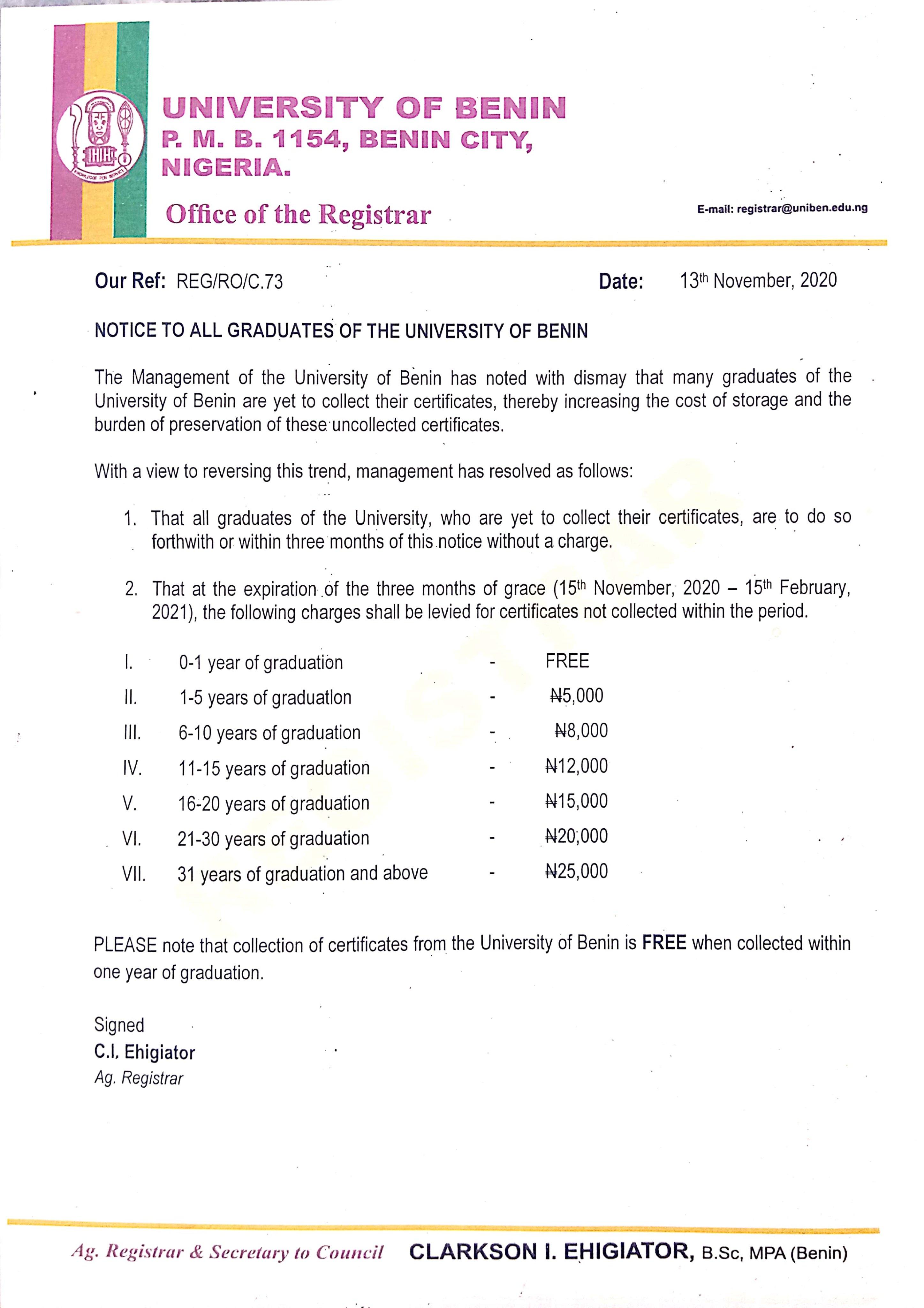 UNIBEN Notice to All Graduates