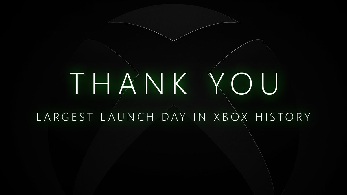 Thanks to you, we had our largest launch day in Xbox history.  More people are playing than ever before, and what's better, we're playing together.  We can't wait for you to keep showing us the power of play: