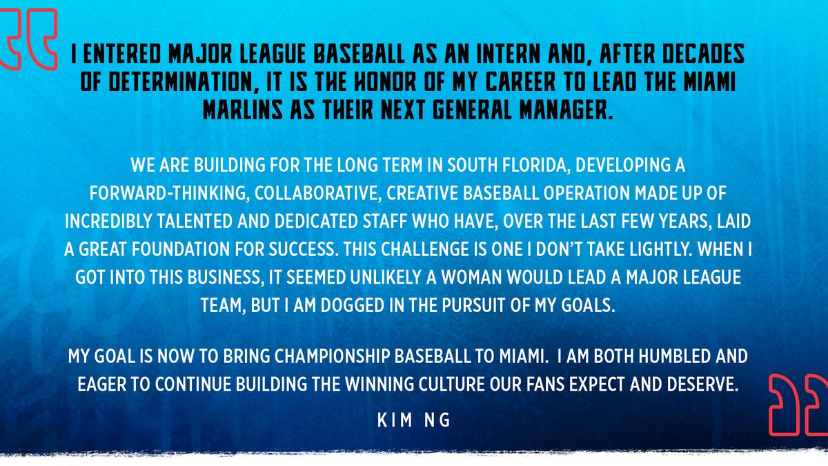Making history by bringing a lifetime of excellence, Kim Ng steps to the helm as GM. #JuntosMiami