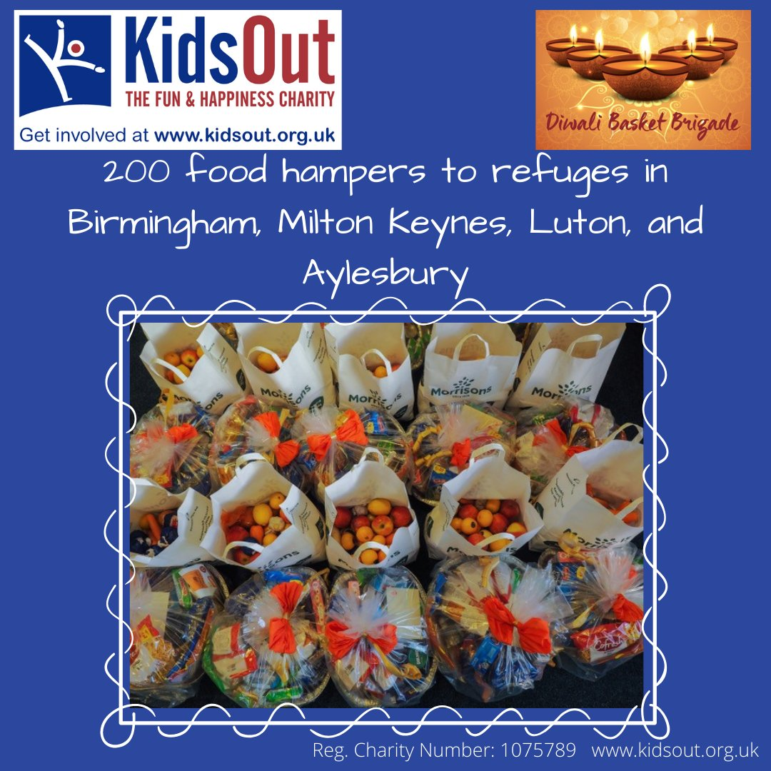 With Diwali coming up this weekend, we look back to last weekend when KidsOut teamed up with @DiwaliBrigade to provide 200 food hampers to refuges in Birmingham, Milton Keynes, Luton, and Aylesbury. Thank you to the Diwali Basket Brigade for helping us #MakeKidsHappy #Diwali