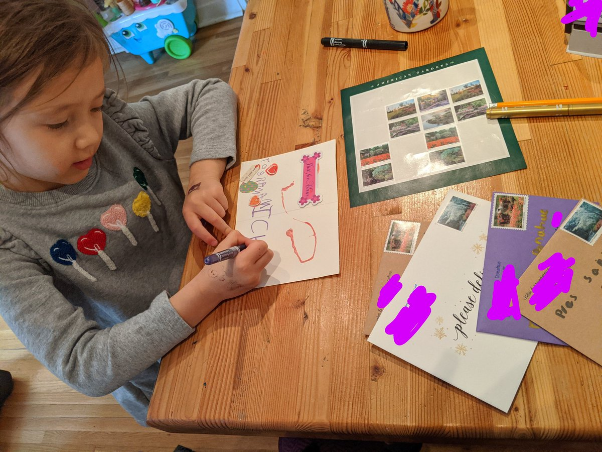 "Both my daughters decided they wanted to use up all the ""pretty stamp stickers"" in the house (???!!!) and are now busily writing letters to everyone they can think of. #parentingwin @USPS #thankyouUSPS #americangardens"