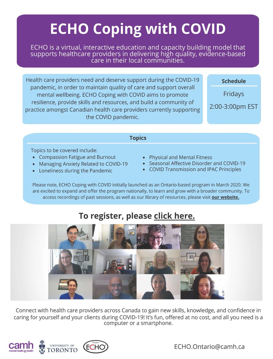 @ECHO_ONMH #CopingwithCOVID continues to promote resilience and support mental wellbeing amongst Canadian health care providers supporting the COVID-19 pandemic. To register, visit camh.echoontario.ca/echo-coping-wi…