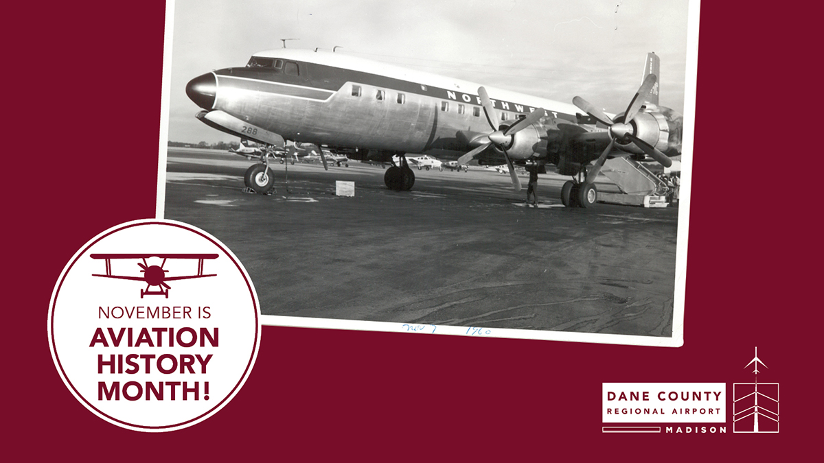 We're celebrating Aviation History Month throughout November! Here is a picture of a DC- 7C operated by Northwest Airlines at MSN Airport. If you're an aviation history buff, comment below with your favorite historical plane model!  #aviationhistorymonth #aviation #MSNAirport