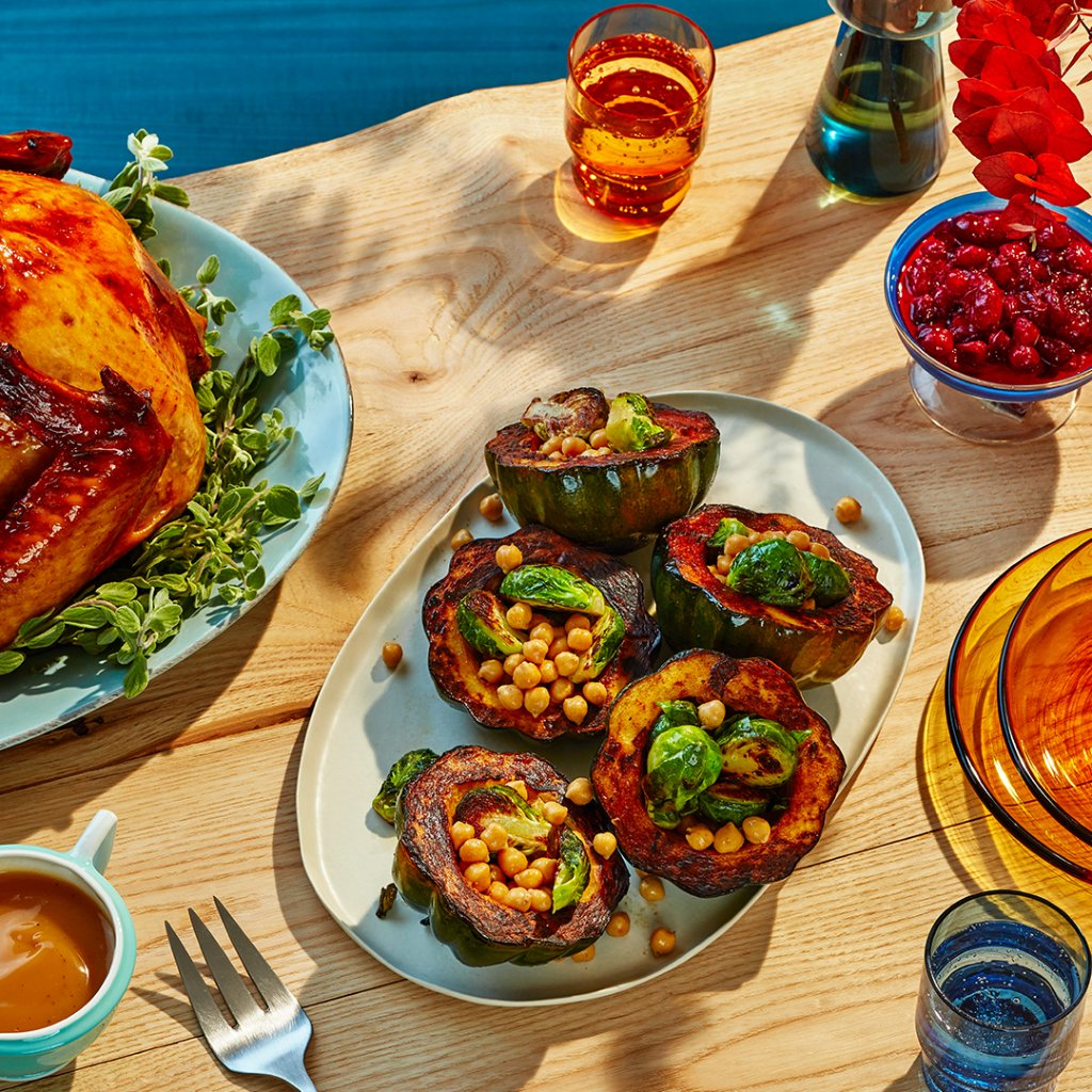 Looking for a fresh recipe this Thanksgiving? With Free Pickup, you can get everything you need to make this flavor packed Chickpea and Brussels Sprouts Stuffed Acorn Squash.