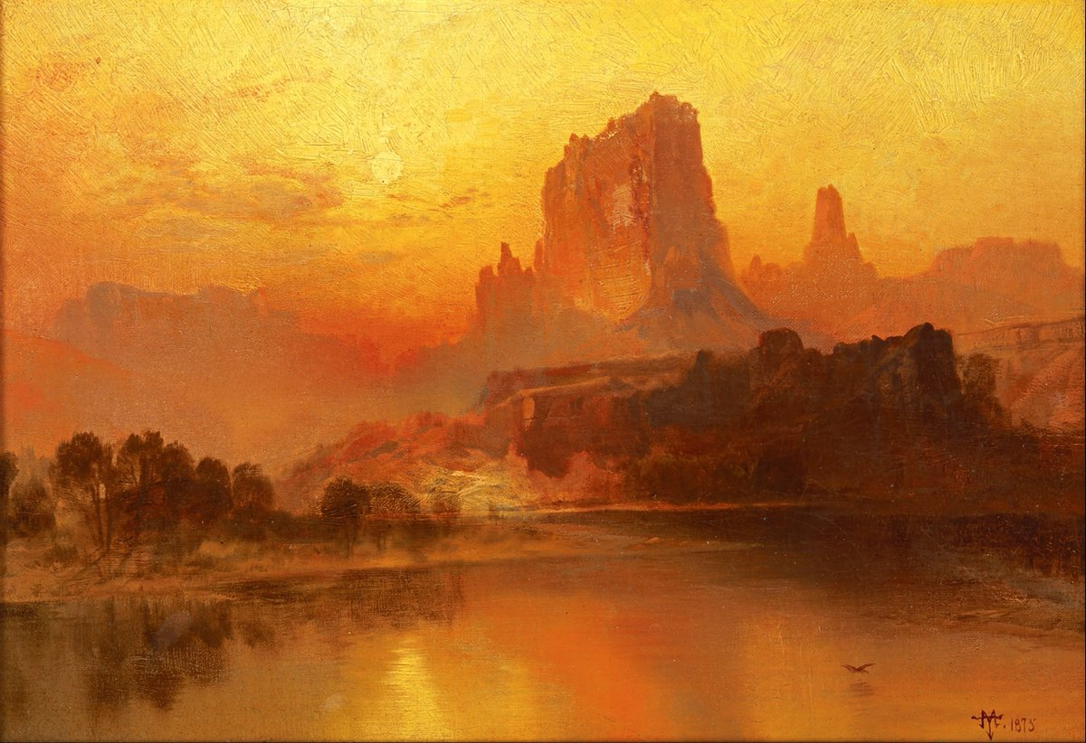 """""""The Golden Hour, 1875"""" Thomas Moran (February 12, 1837 – August 25, 1926) was an American painter and printmaker of the Hudson River School in New York whose work often featured the Rocky Mountains."""