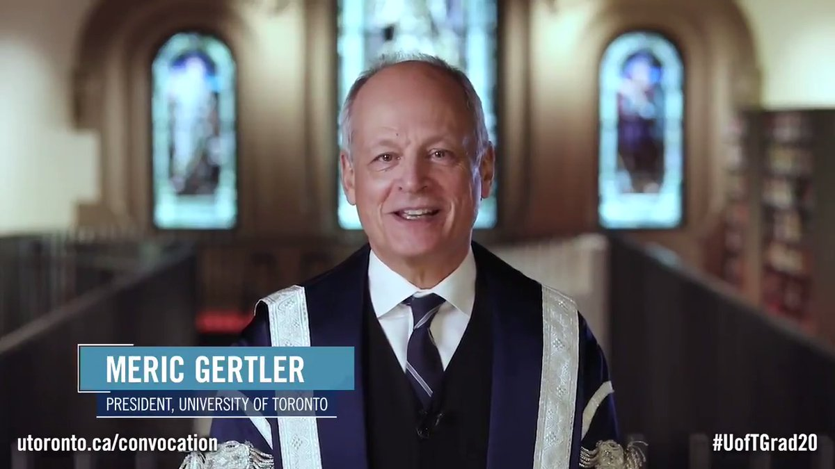 Today we celebrate #UofT's Class of 2020. 🎉 President Meric Gertler invites you to join the virtual #UofTGrad20 fall convocation ceremony today on Saturday, Nov. 21 at 12 p.m. EST at .