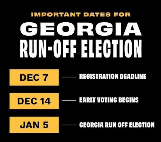 Georgia!!🍑You're not off the hook yet... your run-off election is approaching! Visit  to check your registration or get registered today💕