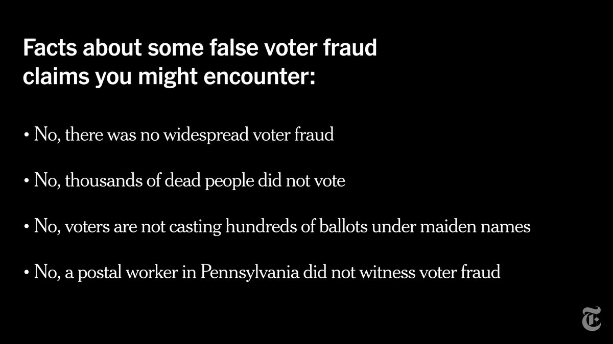 Dozens of rallies are being organized in the U.S. for Saturday as part of a movement which falsely asserts that the election was manipulated against President Trump. Here are some of the unsubstantiated claims you might encounter, and why they are wrong: https://t.co/gRTMqpo0PA https://t.co/mCLFEmdgjE