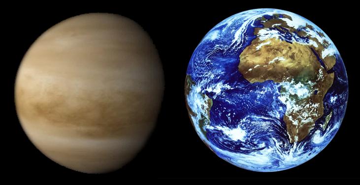 Fotografie ukazuje srovnání velikostí Venuše a Země.