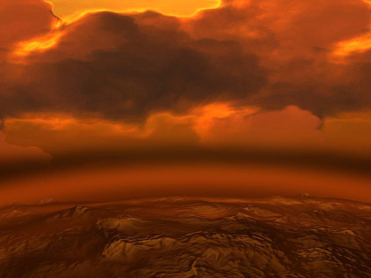 Umělecká představa zachycující povrch Venuše pod příkrovem její husté atmosféry.