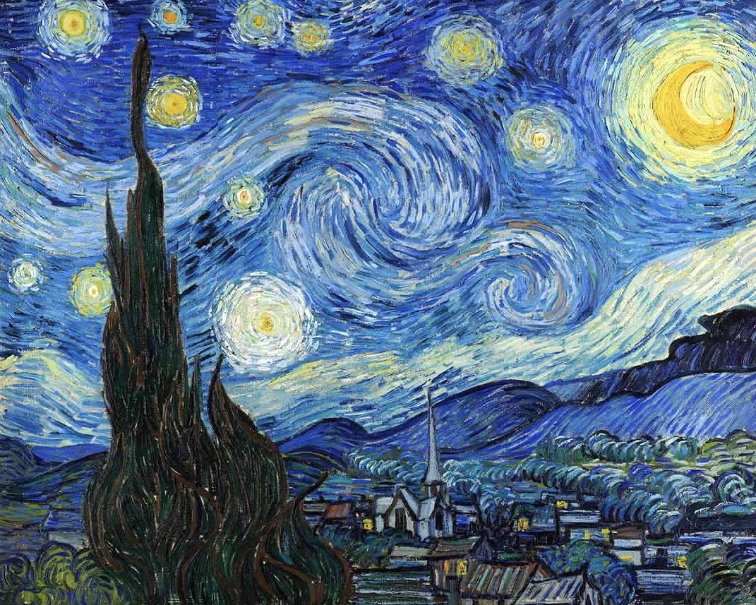 """van Gogh's """"The Starry Night"""", Saint Rémy de Provence, France [Museum of Modern Art, NYC]  Analysis of the crescent Moon and Venus, reveals that the painting captures the early morning hours near the Summer Solstice 1889  — just before sunrise.  So for me, it's """"The Starry Dawn"""""""