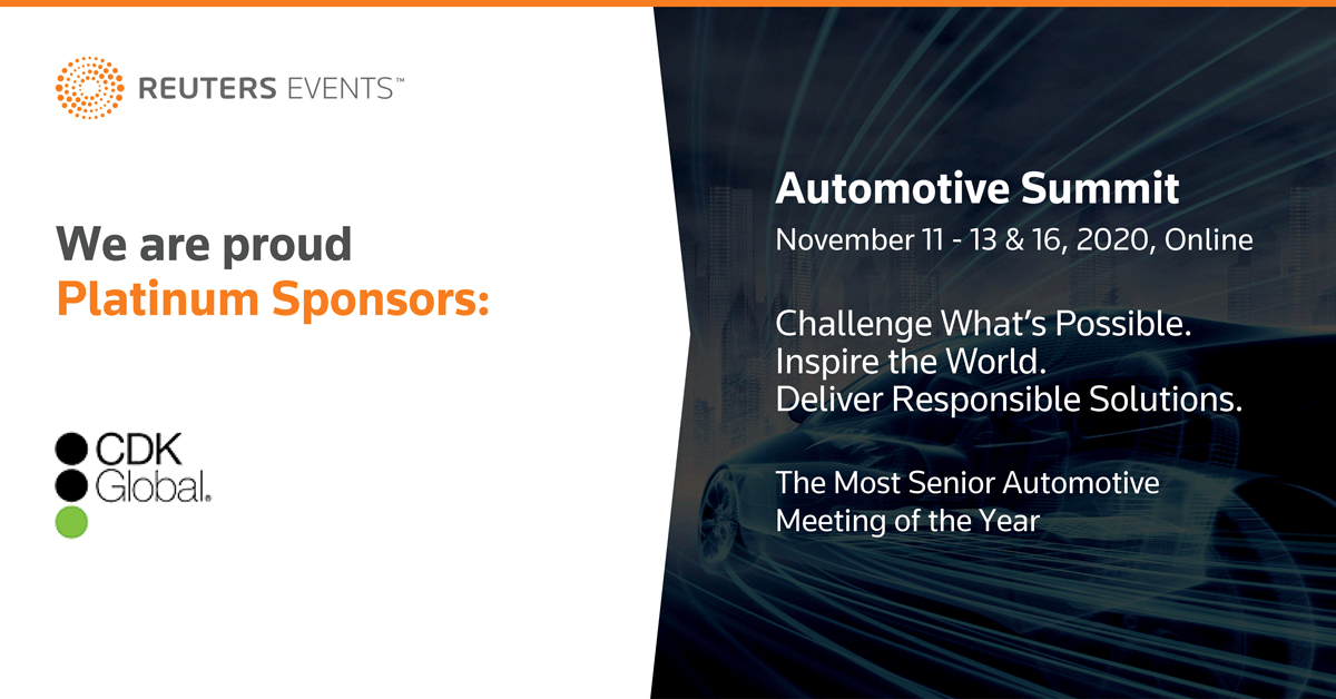 On 11/16, tune into the @Reuters Auto Summit for a presentation on digital retailing w/ CDK Global COO & interim CFO Joe Tautges at 11:45 a.m. ET, and a panel on the future of retail w/ president & CEO Brian Krzanich at noon. #ReutersEventsAutomotive   https://t.co/COkO2F6PLS https://t.co/hc5pnn21yp