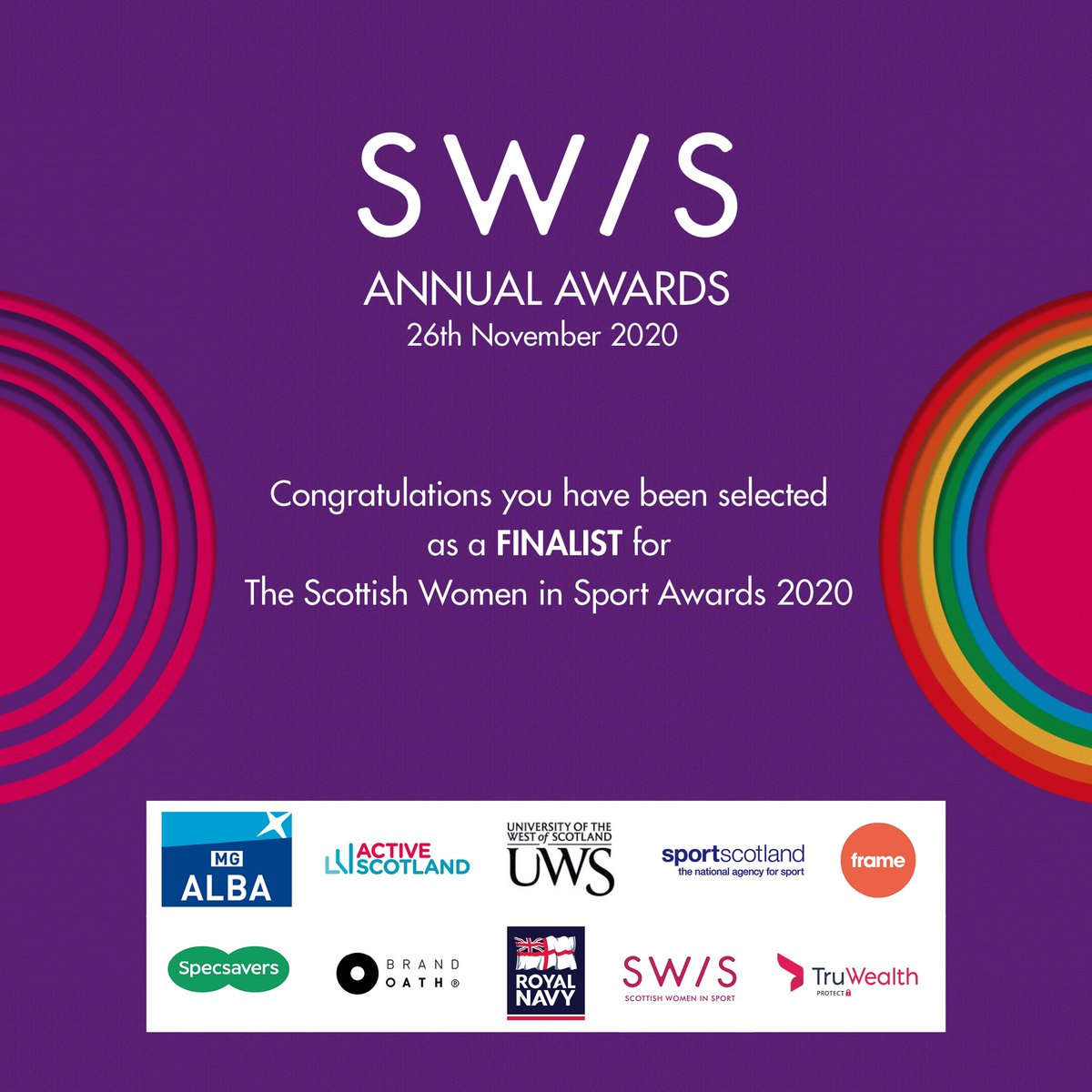 Delighted to have been selected as a finalist for the @ScotWomenSport Awards 2020 🥰 #swisfinalist2020