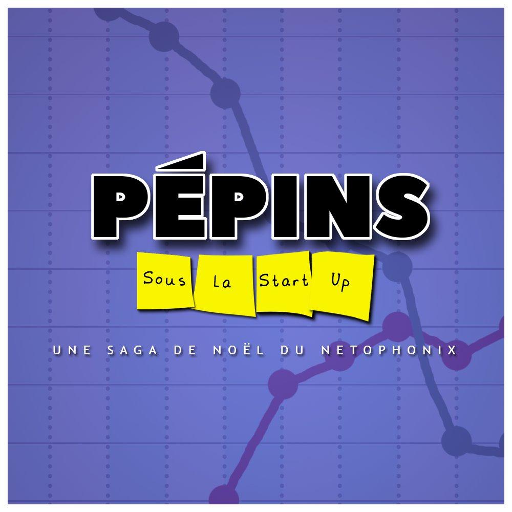 """Pochette de Pépins sous la start-up - Une saga de Noël du Netophonix. Le fond est violet et on aperçoit deux courbes qui se croisent. """"sous la start-up"""" est écrit sur des post-it jaune."""