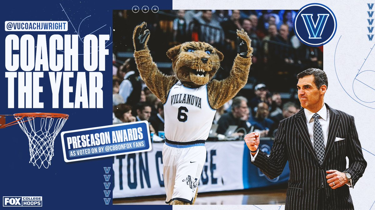 #NovaNation stand up 🙌  Jay Wright is your preseason pick to win Coach of the Year, as voted on by CBB on FOX fans 👏👏 https://t.co/PlFQ1LUj1O