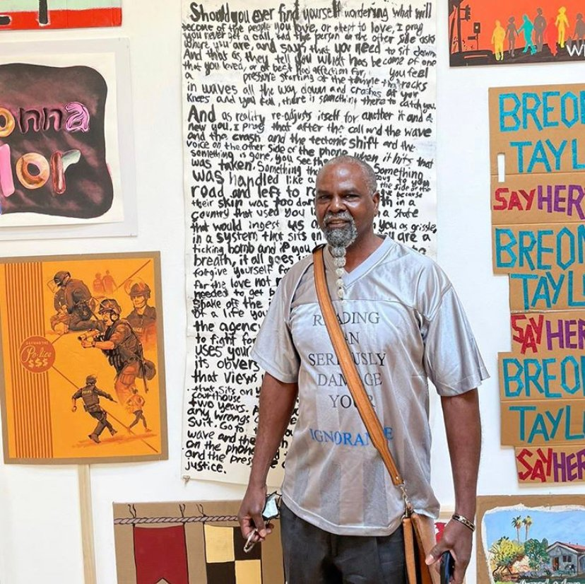 "Saturday, November 14 is the last day to visit the exhibition ""Show Me the Signs"" at Blum & Poe LA! Pictured here is @mrwashtheartist visiting his work in the show.  Make a reservation to see the show, or bid on works in the auction:   #showmethesigns"