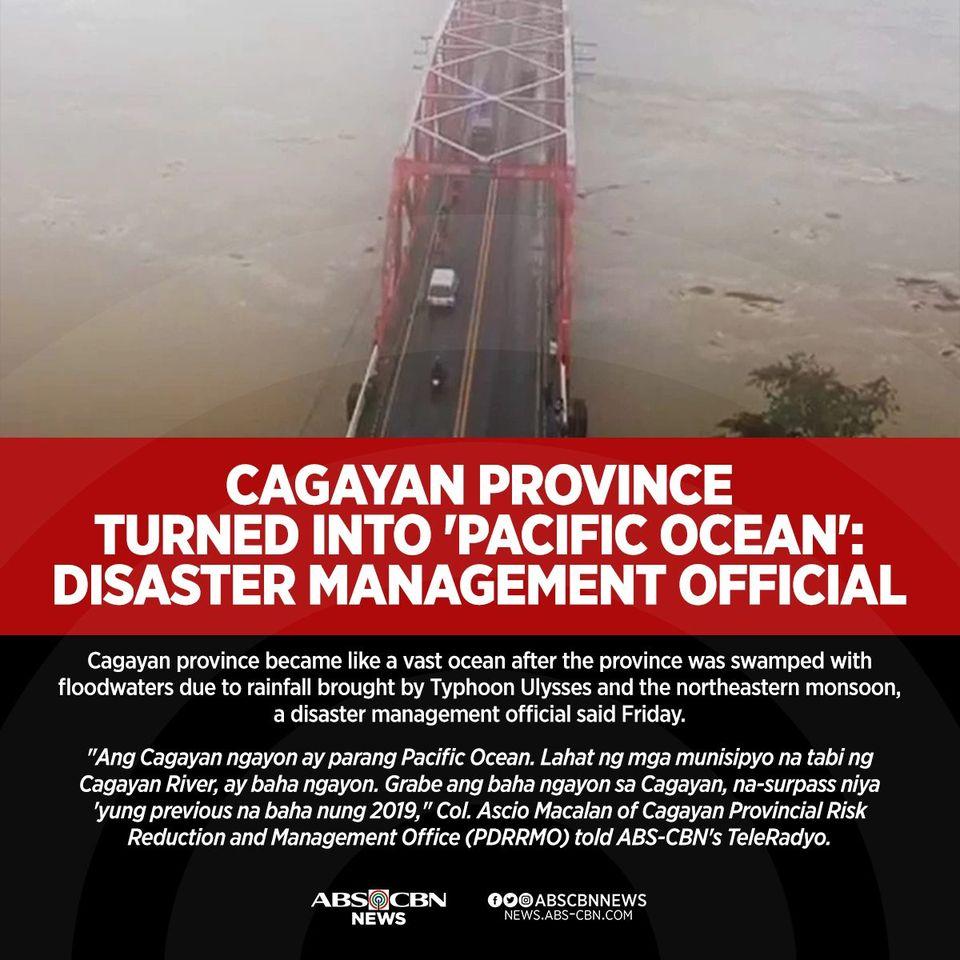 Nagmistulang dagat ang Cagayan matapos lumubog sa baha ang maraming lugar sa probinsya dahil sa ulang hatid ng bagyong #UlyssesPH at northeast monsoon.   BASAHIN:
