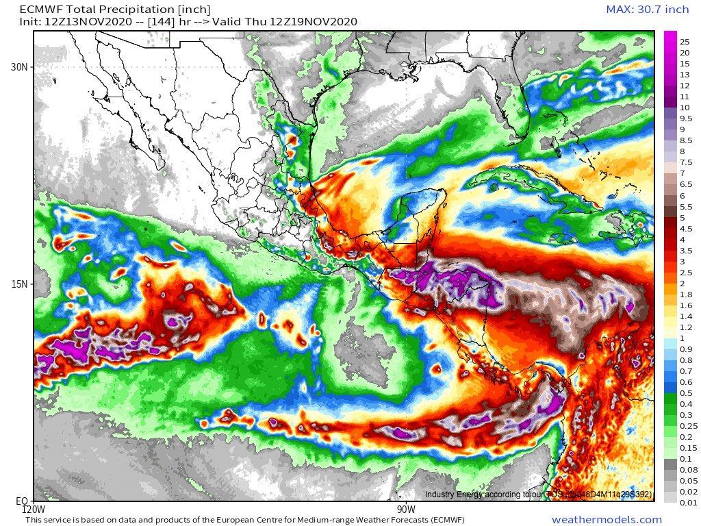 El nuevo ciclón #Iota Se espera que se convierta en un gran huracán al tocar tierra Pero lo más relevante será la lluvia #Iota probablemente agravará los efectos de Eta en Centroamérica con lluvias intensas en las mismas áreas que registraron totales similares la semana pasada
