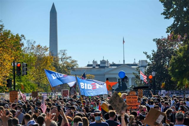Spontaneous celebrations of Joe Biden's victory broke out across the country., From TwitterPhotos