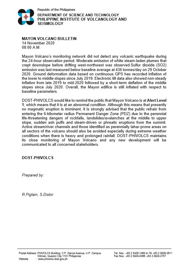 MAYON VOLCANO BULLETIN 14 November 2020 08:00 A.M. #MayonVolcano phivolcs.dost.gov.ph/index.php/Mayo…