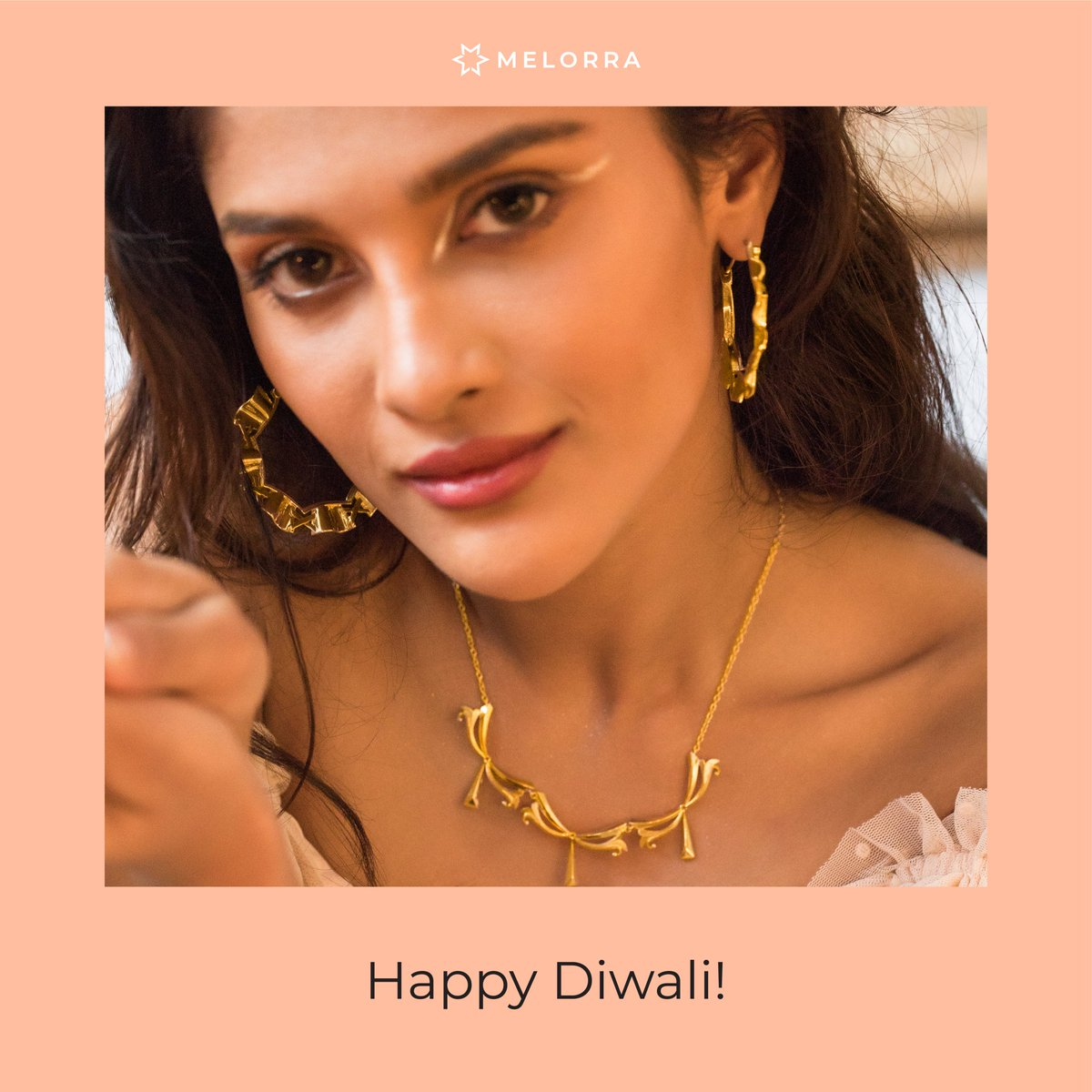 This Diwali, bring home some glam and gold! Wishing you all a very Happy Diwali!  #Melorra #Diwali2020 #FineJewellery #GoldJewellery #LightweightJewellery #EverydayJewellery