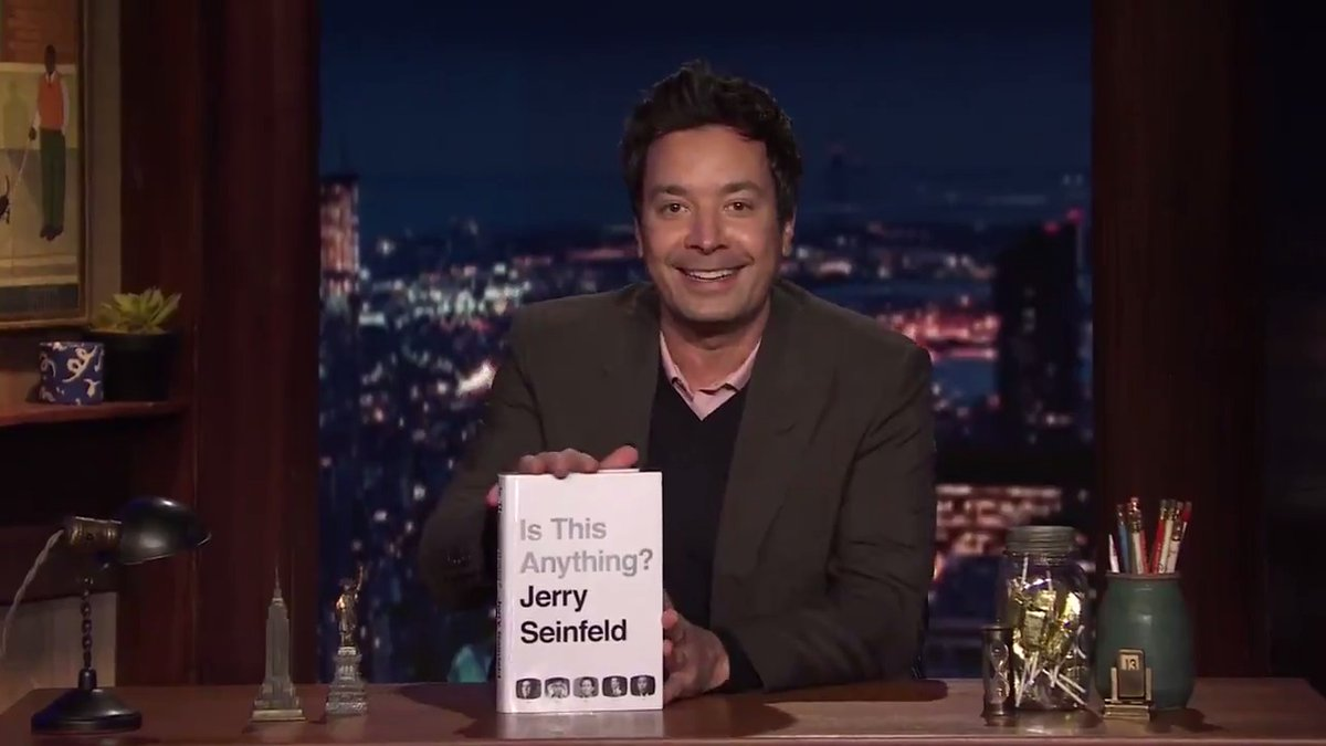 """Calling all @JerrySeinfeld fans!  1. Select a bit from Jerry's book """"Is This Anything?""""  2. Record a video of yourself performing the bit!  3. Email us your video to seinfeldchallenge@tonightshow.com"""